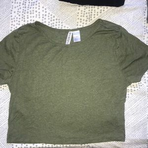 Tops - Olive green crop top